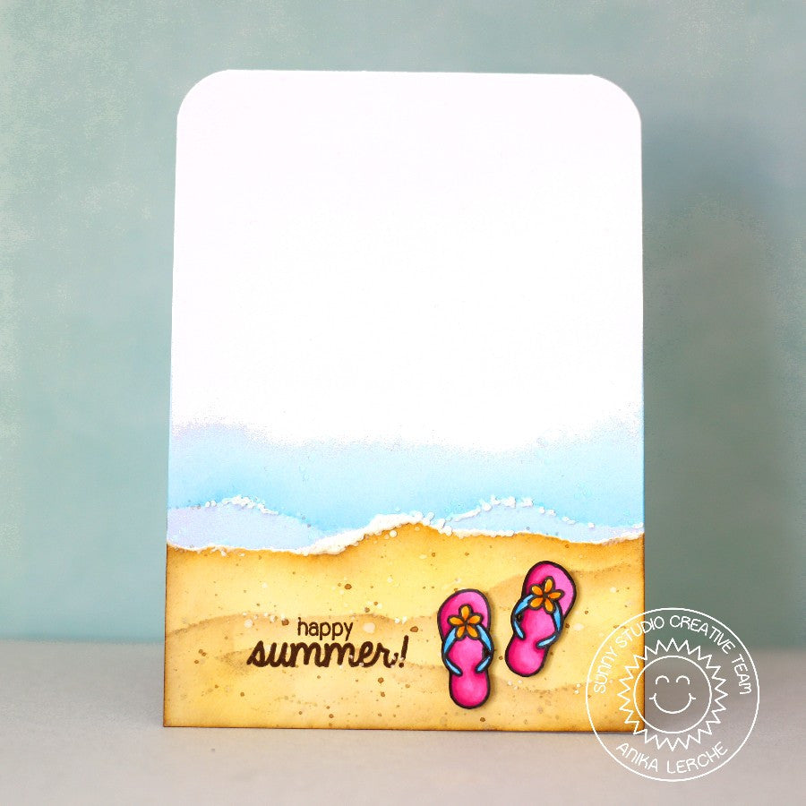 Sunny Studio Stamps Island Getaway Happy Summer Flip Flops Card