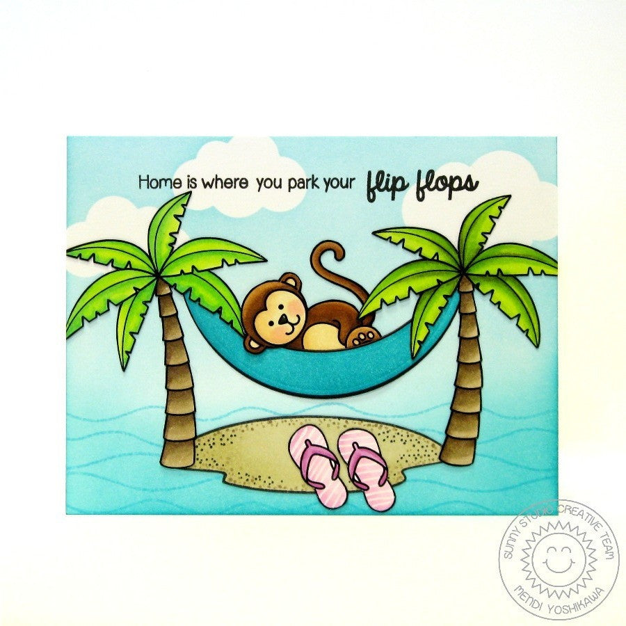 Sunny Studio Stamps Comfy Creatures Monkey in Hammock Flip Flops Card