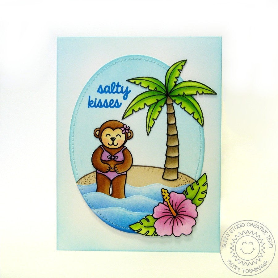 Sunny Studio Stamps Island Getaway Salty Kisses Monkey in Bikini Card