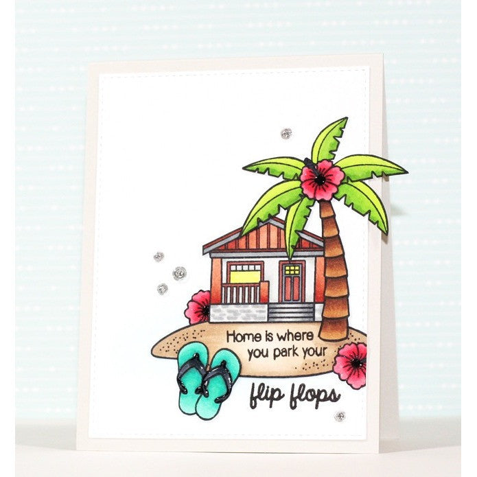 Sunny Studio Stamps Island Getaway Beach House Card