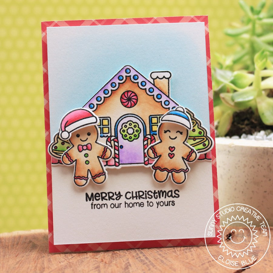 Sunny Studio Stamps Jolly Gingerbread Merry Christmas From Our House to Yours Card