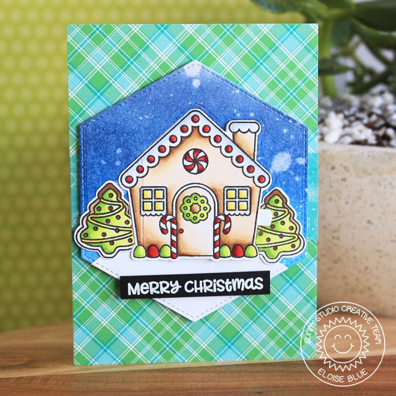 Sunny Studio Stamps Jolly Gingerbread Interactive House Christmas Card with Peek-a-boo door