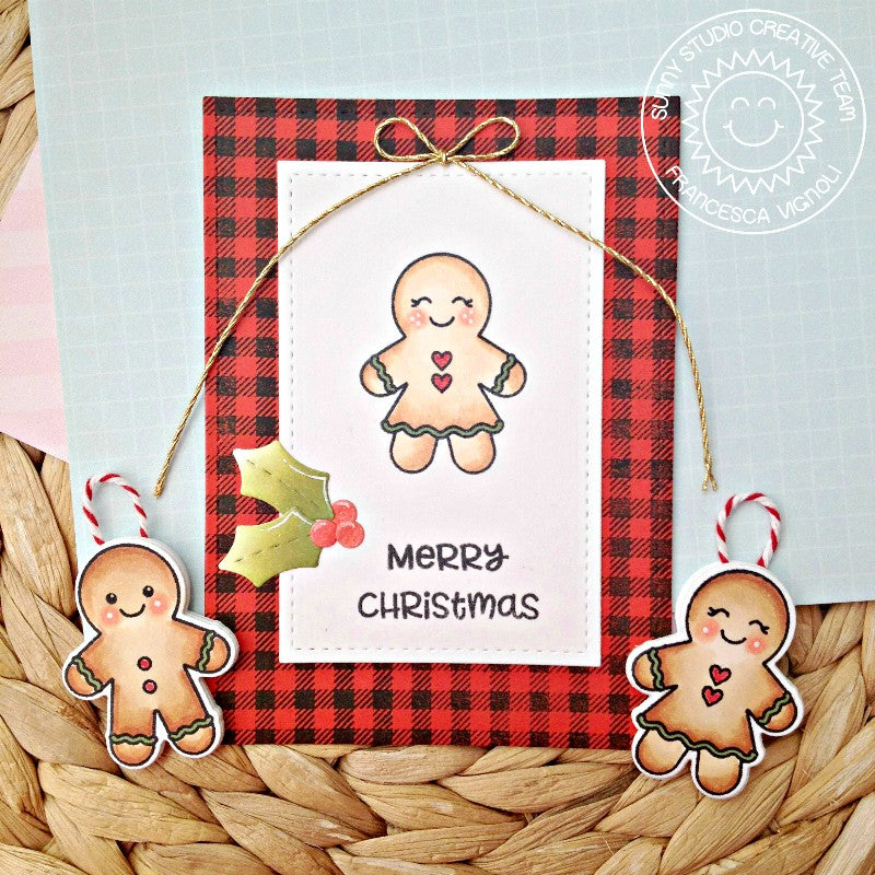 Sunny Studio Stamps Jolly Gingerbread Girl Christmas Card & Ornaments