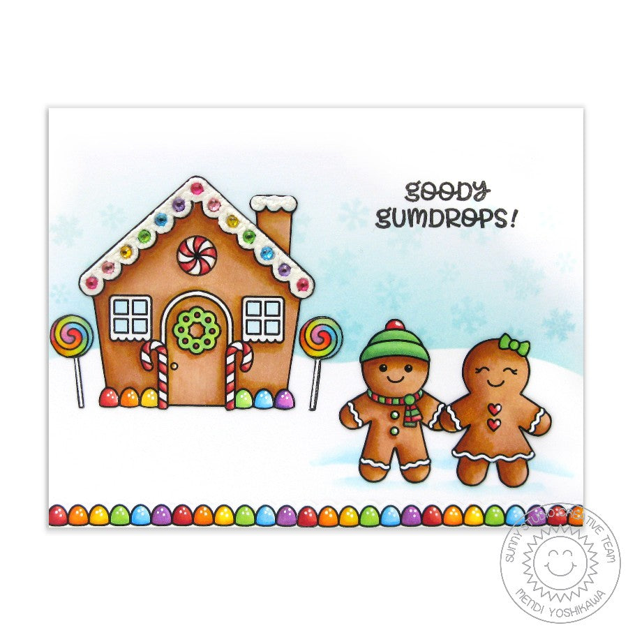 Sunny Studio Stamps Jolly Gingerbread Goody Gumdrops Colorful Christmas Card