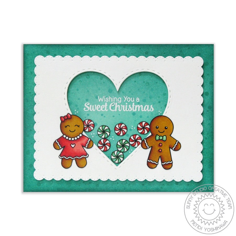 Sunny Studio Stamps Jolly Gingerbread Peppermint Candy Heart Shaker Christmas Card