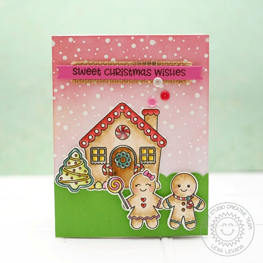 Sunny Studio Stamps Jolly Gingerbread Sweet Christmas Wishes Card