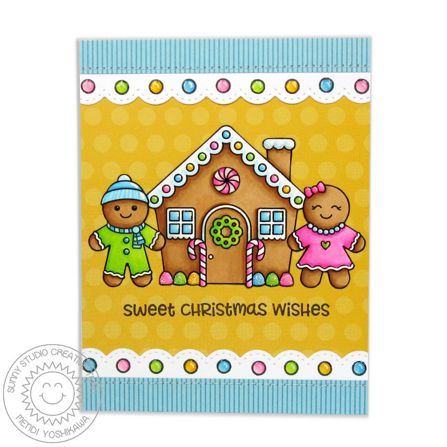 Sunny Studio Stamps Jolly Gingerbread House Bright & Happy Christmas Card