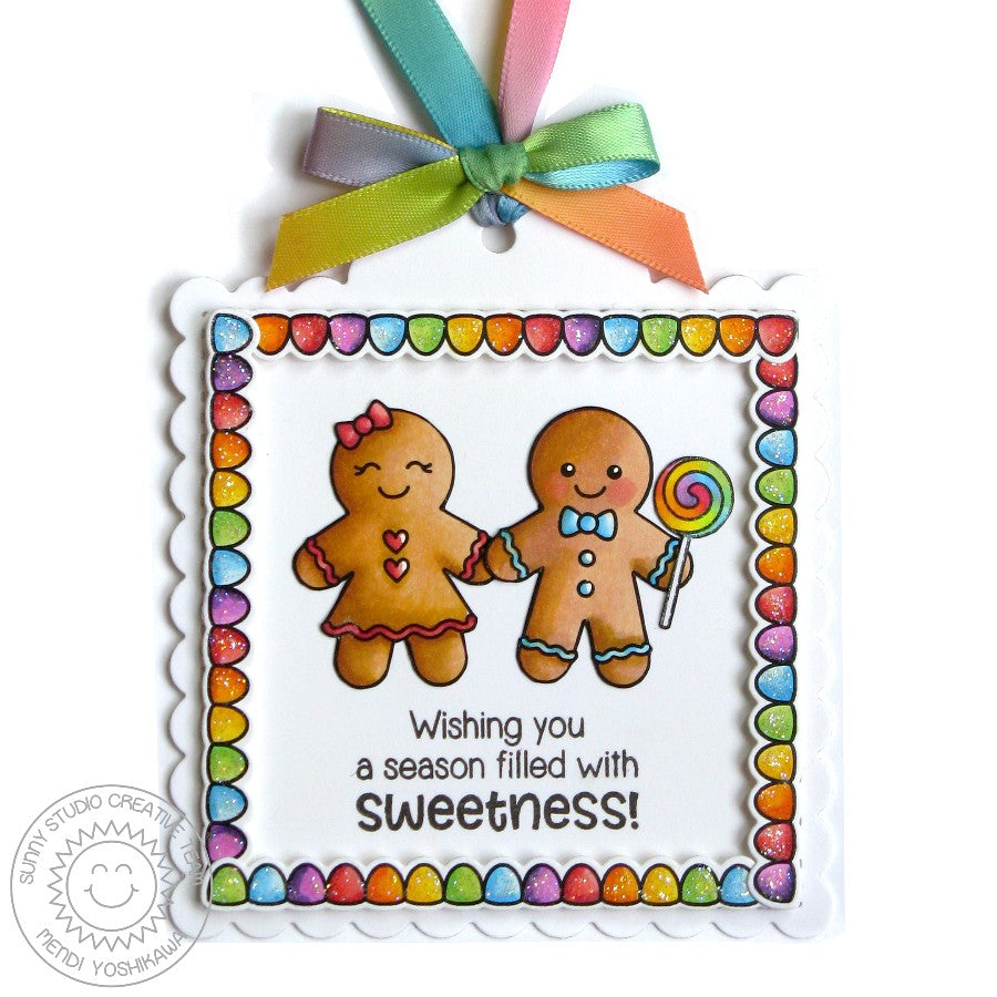 Sunny Studio Stamps Jolly Gingerbread Girl & Boy Christmas Holiday Gift Tag