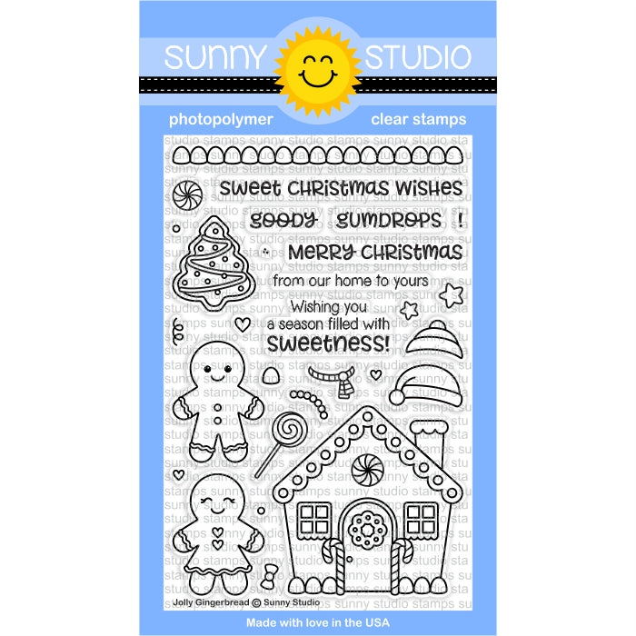 Sunny Studio Stamps Jolly Gingerbread Christmas Holiday 4x6 Photo-polymer Clear Stamp Set