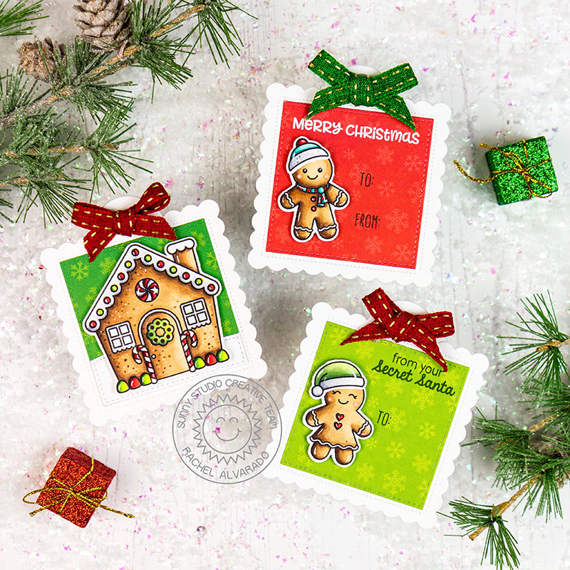 Sunny Studio Stamps Gingerbread House and Men Christmas Holiday Gift Tags by Rachel Alvarado (using stitched Scalloped Square Tag Dies)
