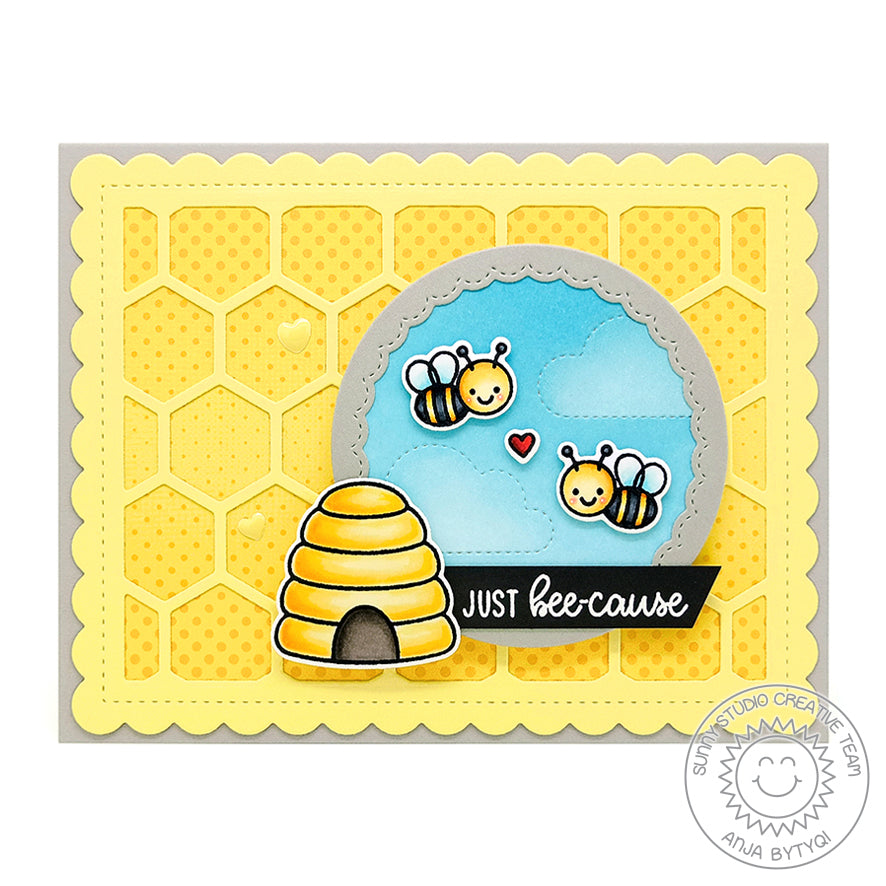 Sunny Studio Stamps Just Bee-cause Honey Bee Window Card with Honeycomb Background (using Frilly Frames Hexagon Dies)