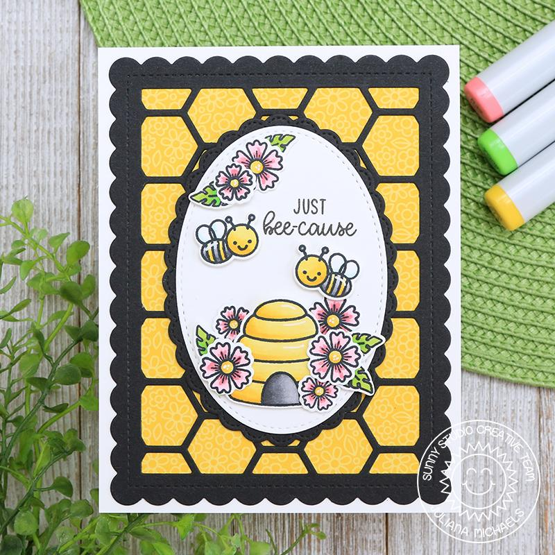 Sunny Studio Stamps Just Bee-cause Honey Bee with Beehive Card with black & yellow honeycomb background (using Frilly Frames Hexagon Dies)