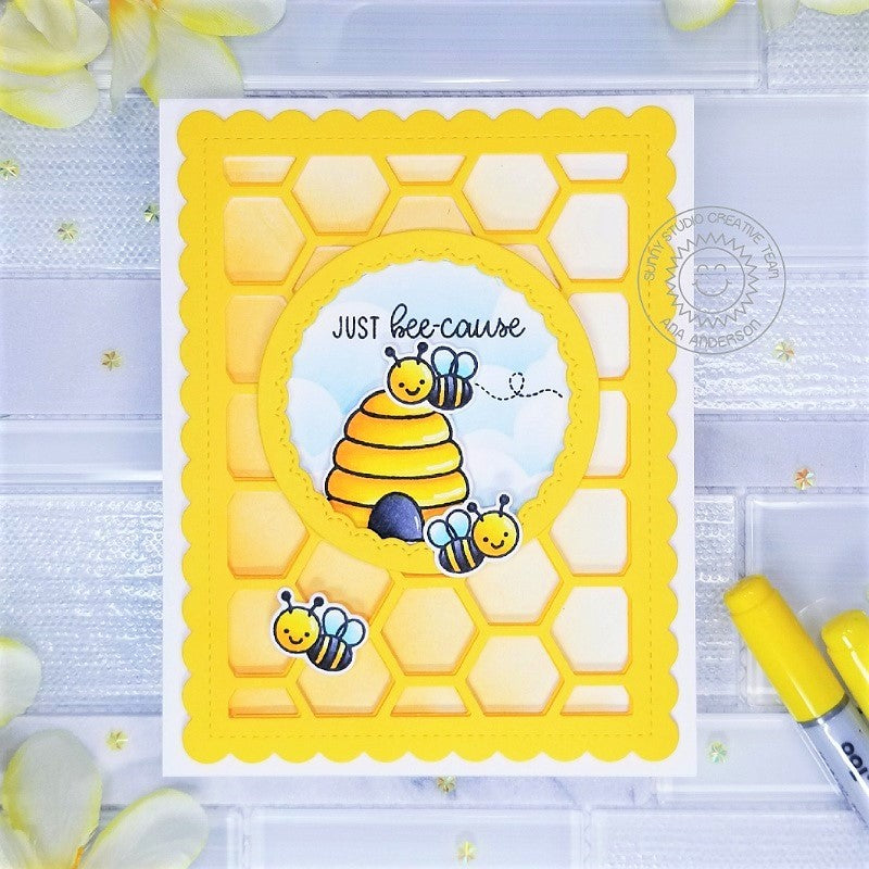 Sunny Studio Stamps Honey Bee with Beehive and Honeycomb Background Card (using Frilly Frames Hexagon Die)