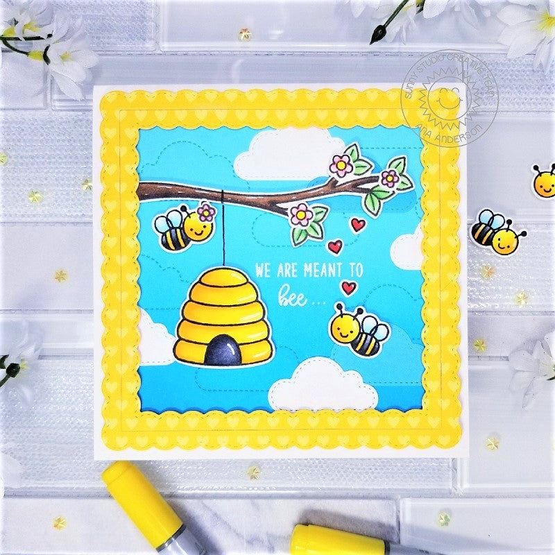 Sunny Studio Stamps Honey Bee with Beehive hanging on Tree Branch Handmade Card by Ana Anderson (using stitched Fluffy Cloud Dies)