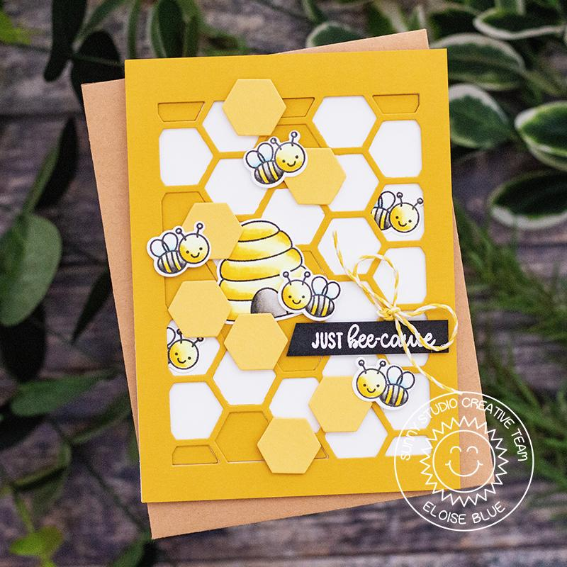 Sunny Studio Stamps Just Bee-Cause Honeycomb Card (using Stitched Frilly Frames Hexagon Background Cutting Dies)