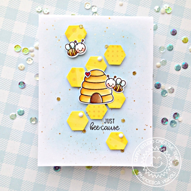 Sunny Studio Stamps Just Bee-Cause Bumblebee and Beehive Card (using Hexagons from Frilly Frames Die)
