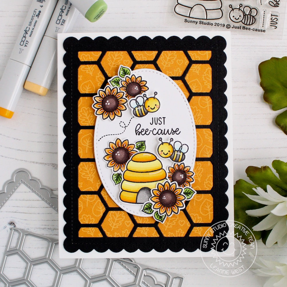 Sunny Studio Stamps Just Bee-cause Honey Bee & Sunflowers Fall Honeycomb Card by Leanne West (using Tone-on-tone leaf print from Colorful Autumn 6x6 Paper pack)