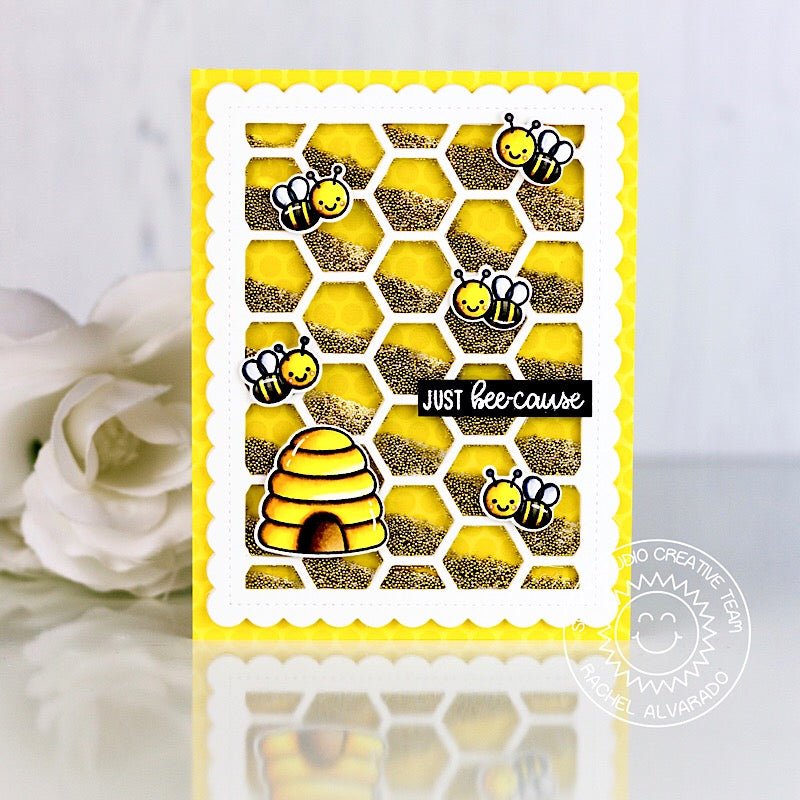 Sunny Studio Stamps Just Bee-cause Honeycomb Shaker Card by Rachel