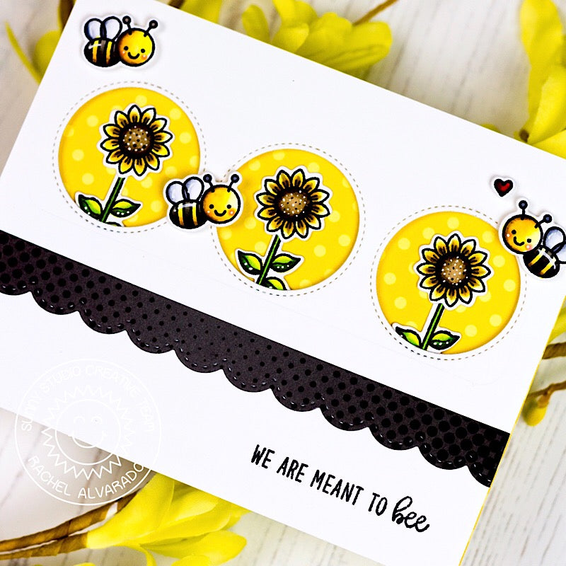 Sunny Studio We Are Meant To Bee Punny Honey Bee Yellow, Black & White Handmade Card (using Sunflower from Happy Harvest Stamps)