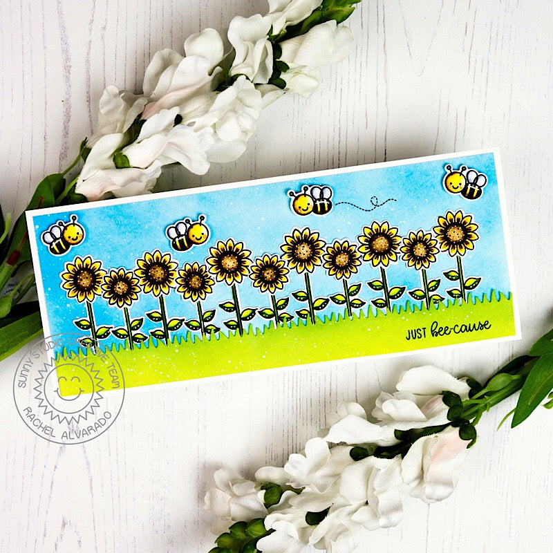 Sunny Studio Just Bee-Cause Long Sunflower Border Card (using Happy Harvest Stamps)