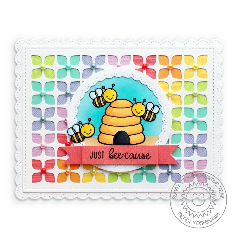 Sunny Studio Stamps Just Bee-Cause Honey Bee Rainbow Card (using Frilly Frames Retro Petals Dies)