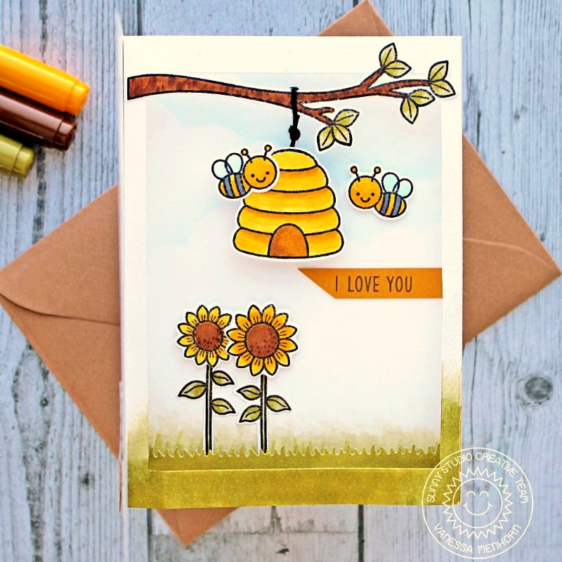 Sunny Studio Stamps Honey Bee with Beehive hanging from Tree Branch with Sunflowers Card