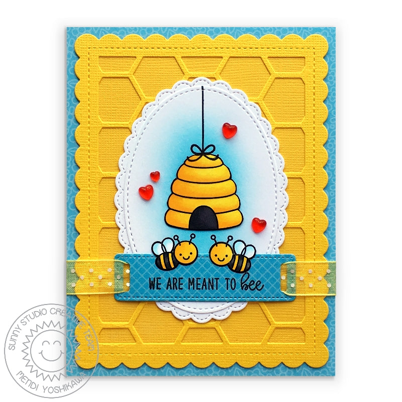 Sunny Studio Stamps Yellow & Blue Bumble Bee Honeycomb Card (using Frilly Frames Hexagon cutting dies)