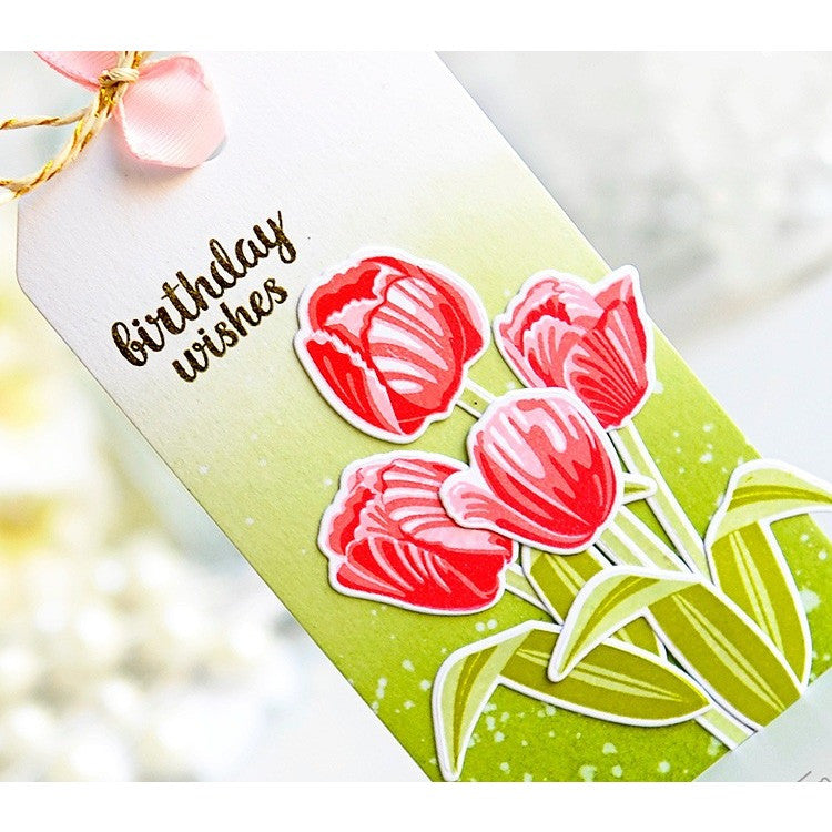 Sunny Studio Stamps Red Layered Tulips Spring Handmade Birthday Gift Tag (using Timeless Tulips 4x6 Clear Photopolymer Color Layering Stamp Set)