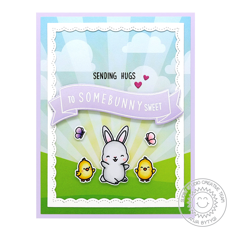 Sunny Studio Stamps Sending Hugs To Some Bunny Sweet Punny Easter Rabbit Handmade Card (using Kinsley Alphabet 3x4 Clear Photopolymer Stamp Set)