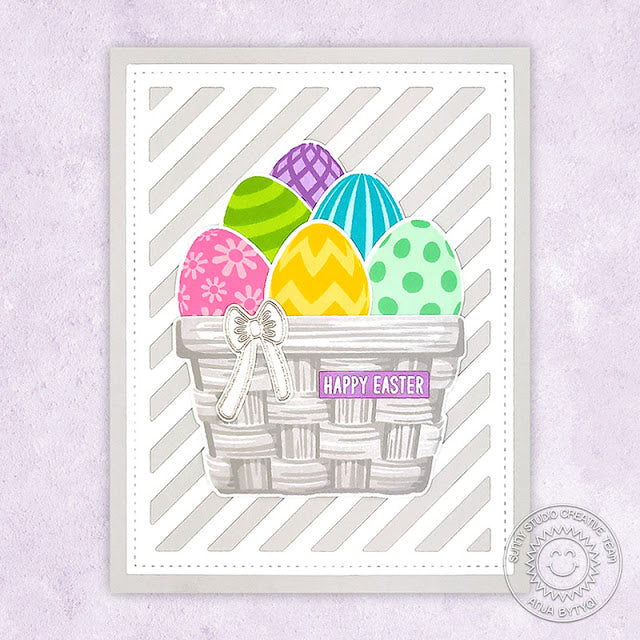 Sunny Studio Colorful Eggs in White Basket Handmade Easter Card (using Layered Layering Eggs To Dye For 4x6 Clear Stamps)