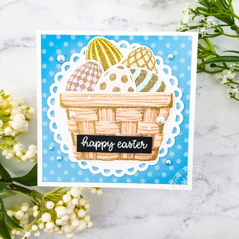 Sunny Studio Stamps Happy Easter Gold Glitters Eggs in Basket Handmade Card (using Scalloped Circle Mat 3 Dies)