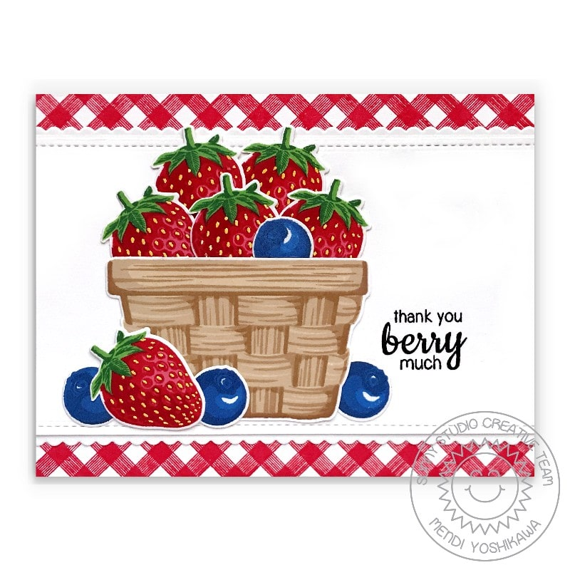 Sunny Studio Thank You Berry Much Punny Strawberry & Blueberry Red Gingham Card (using Layered Basket 4x6 Clear Layering Stamps)