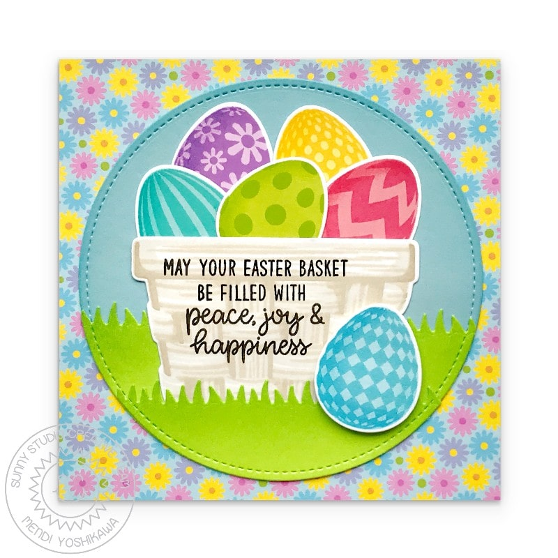 Sunny Studio May Your Easter Basket Be Filled with Peace, Joy & Happiness Spring Card (using Layered Basket 4x6 Layering Stamps)