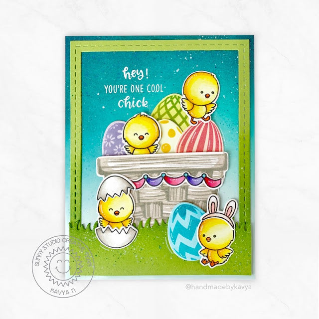Sunny Studio You're One Cool Chick Eggs In Basket Handmade Easter Card (using Layered Layering Eggs To Dye For 4x6 Clear Stamps)