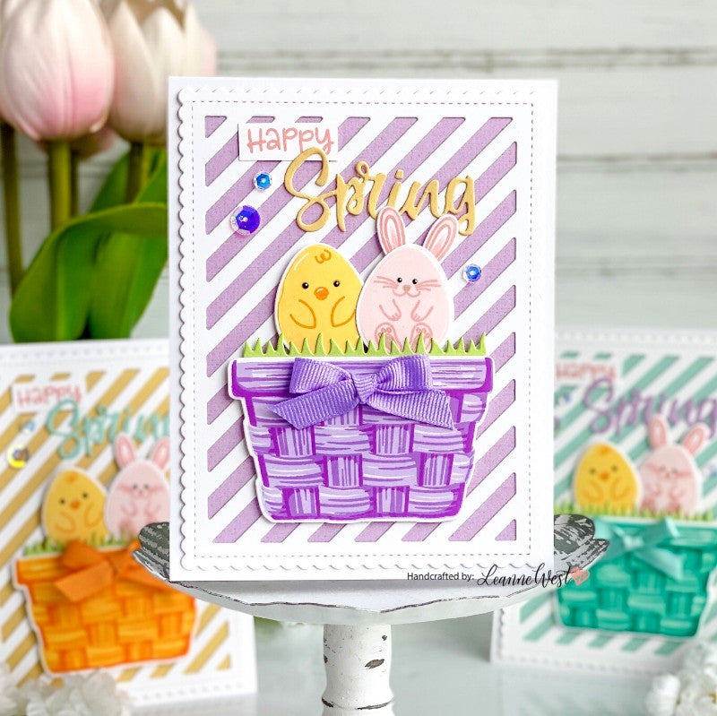 Sunny Studio Happy Spring Bunny & Chick Egg in Pastel Easter Baskets Card (using Eggs To Dye For 4x6 Clear Stamps)