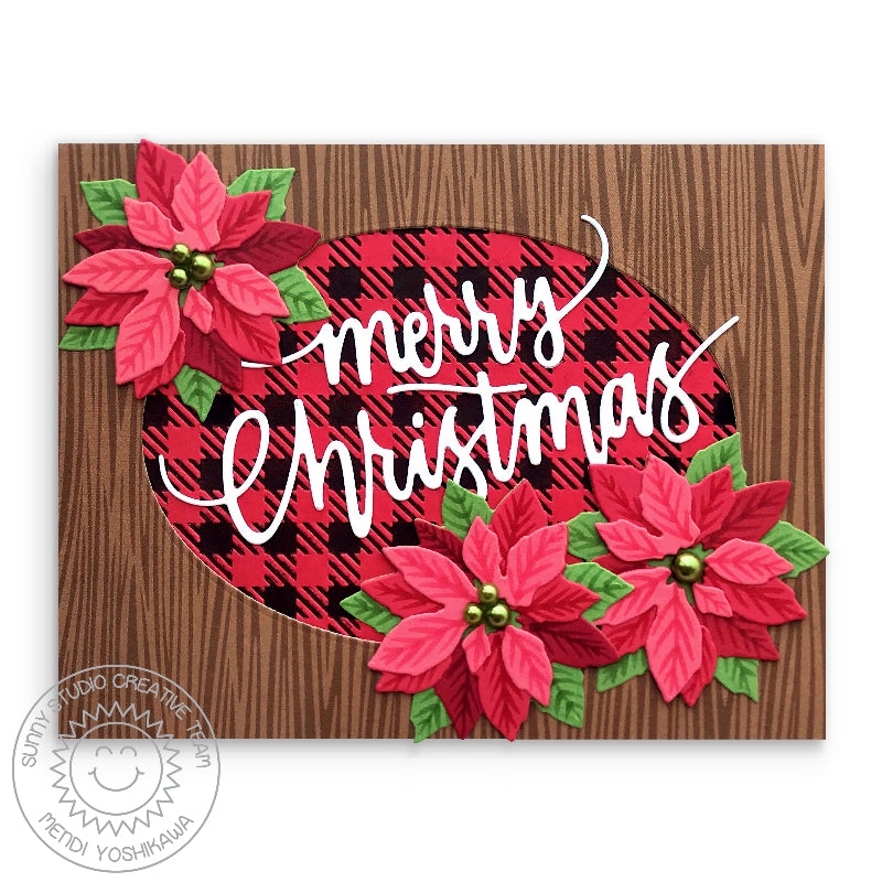 Sunny Studio Stamps Merry Christmas Poinsettia Handmade Holiday Card with Wood Print (using Amazing Argyle Woodgrain Double Sided 6x6 Patterned Paper Pack Pad)