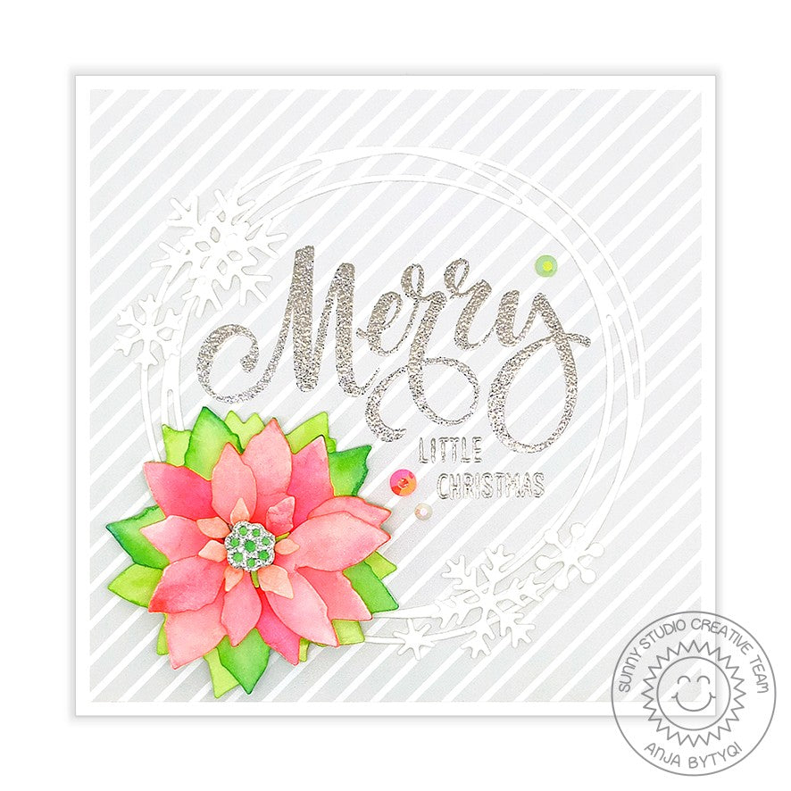 Sunny Studio Stamps Elegant Poinsettia Handmade Holiday Christmas Card by Anja (using Subtle Grey Tones 6x6 Patterned Paper Pack)