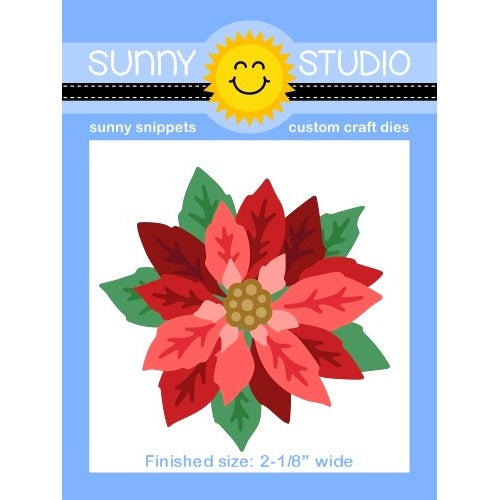 "Sunny Studio Stamps Christmas Holiday Layered Poinsettia 11-piece Metal Cutting Die Set - Finished Size = 2-1/8"" wide"