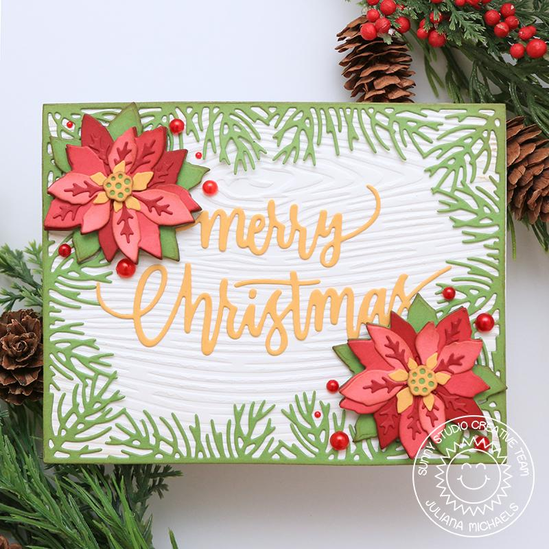 Sunny Studio Stamps Traditional Poinsettia Wood Embossed Texture Holiday Christmas Card (using Woodgrain 6x6 Embossing Folder)