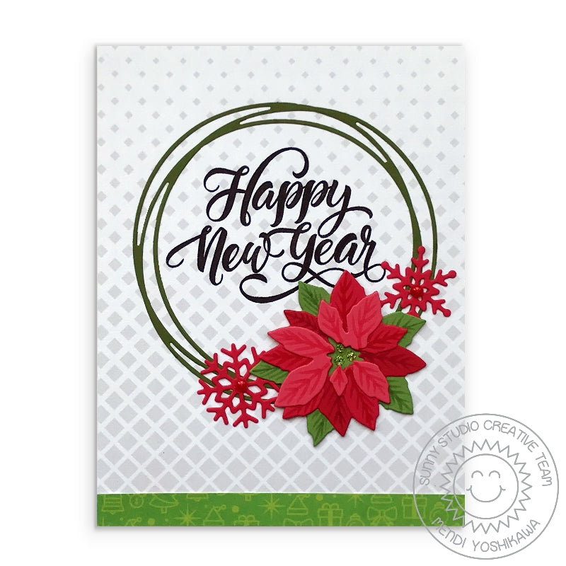 Sunny Studio Stamps Happy New Year Gray Gradient Diamonds Handmade Holiday Christmas Card (using Subtle Grey Tones 6x6 Patterned Paper Pack)