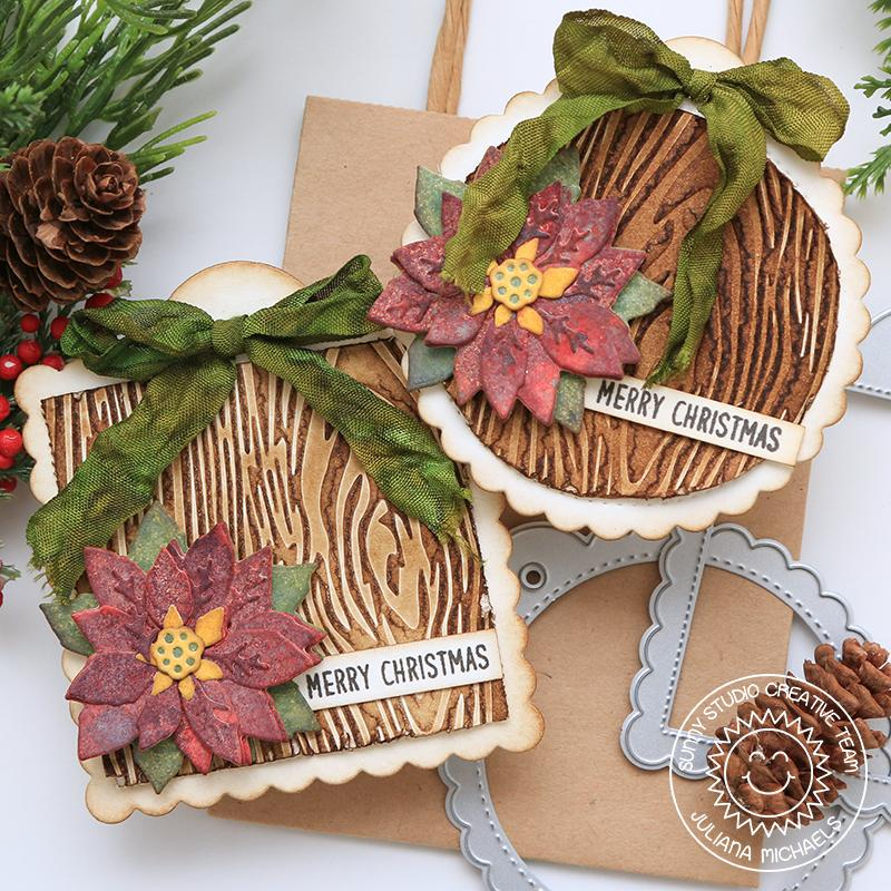 Sunny Studio Stamps Rustic Christmas Wood Embossed Stitched Scalloped Circle & Square Holiday Gift Tags for Christmas