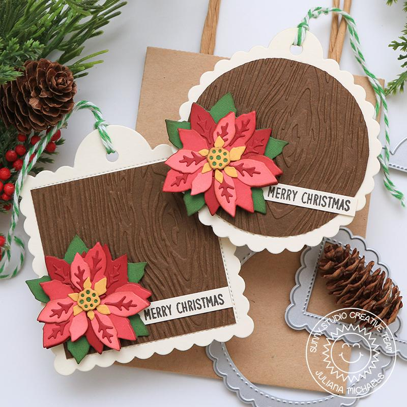 Sunny Studio Stamps Clean & Simple Layered Poinsettia Scalloped Christmas Holiday Gift Tags (with embossed wood texture using Woodgrain 6x6 Embossing Folder)