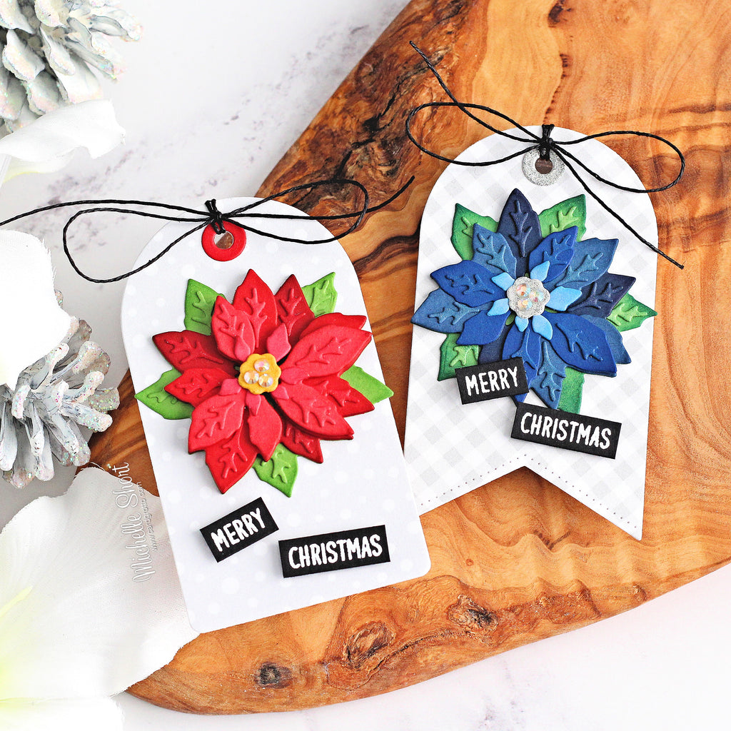 Sunny Studio Stamps Layered Poinsettia Holiday Christmas Gift Tags (using Subtle Grey Tones 6x6 Gingham Patterned Paper)