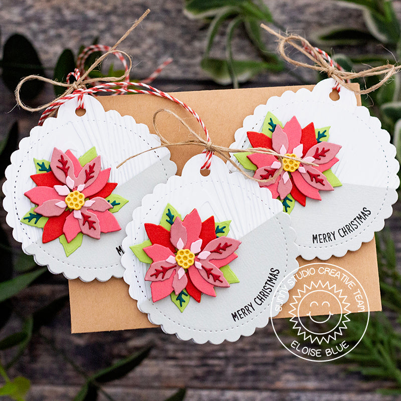Sunny Studio Stamps Poinsettia Handmade Holiday Christmas Gift Tags by Eloise Blue (using Stitched Scalloped Circle Craft Cutting die)