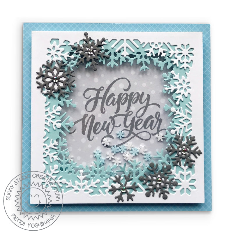 Sunny Studio Gray, Blue & White Layered Snowflake Frame Happy New Year Shaker Card (using Subtle Grey Tones 6x6 Patterned Paper Pack)