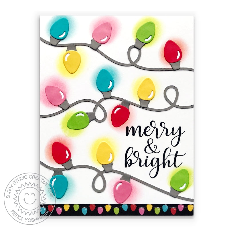"Sunny Studio Stamps Loopy String of Holiday Lights Glowing Light Bulb ""Merry & Bright"" Christmas Card"