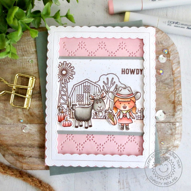 Sunny Studio Stamps Pink Girly Cowgirl Farm Themed Handmade Card (using Frilly Frames Eyelet Lace Metal Cutting Dies)