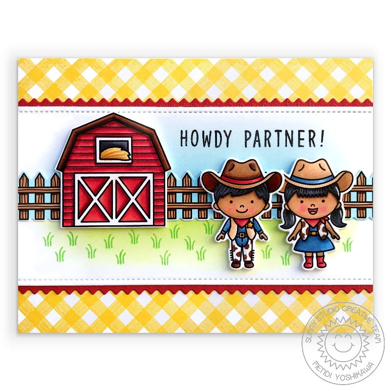 Sunny Studio Howdy Partner Yellow Gingham Cowboy & Cowgirl Handmade Card with Red Barn and Custom Sentiment (using Kinsley Alphabet 3x4 Clear Stamps)