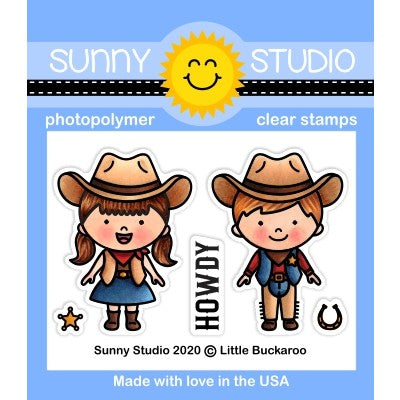 Sunny Studio Stamps Little Buckaroo Howdy Cowboy and Cowgirl Kids Mini 2x3 Clear Photopolymer Stamp Set