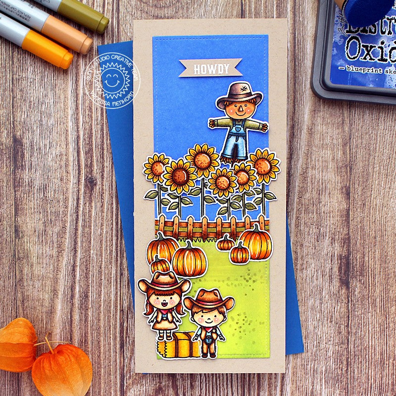 Sunny Studio Howdy Scarecrow with Sunflowers & Pumpkins Handmade Slimline Autumn Fall Themed Card (using Happy Harvest 4x6 Clear Stamps)